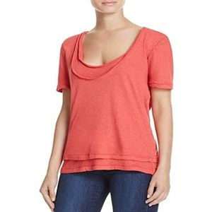 Free People Red Scoop Neck T-shirt Tee New Small
